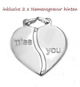 Partnerschmuck miss you inkl. Gravur 2 Namen